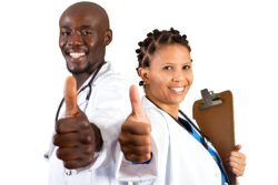 Nurse and doctor showing thumbs up